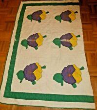 """Vintage Hand Appliqued Pansy pattern Cutter Quilt piece 37"""" x 56"""""""