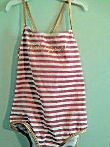 NWT baby Phat girls pink & white glitter striped tankini edged in gold size 6