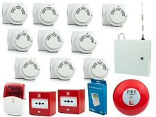 COMPLETE HMO SMOKE / HEAT/ CALL POINTS WIRELESS FIRE ALARM & GSM DIALLER