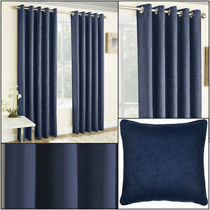 Navy Vogue Thermal Blockout Lined Ready Made Eyelet Top Ring Top Curtains Pair