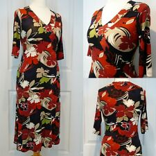 Minuet Stretch-Jersey Dress Faux-Wrap Foliage Print UK12 Petite Office Smart