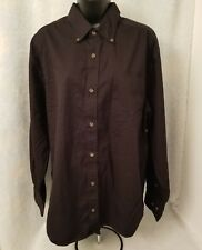 Basic Editions Mens Black Long Sleeve Button Down Shirt Size L
