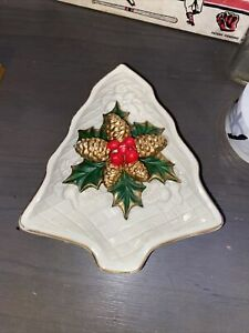 Porcelain Christmas Tree Candy/Trinket Dish, Pine Cones Holly Berry Gold Rimmed
