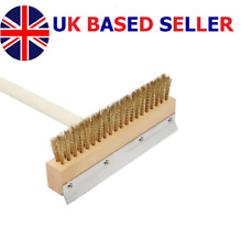 "Top Quality Pizza Oven Brush Wood Handle 30"" Inch Brass Bristles & Steel Scraper"