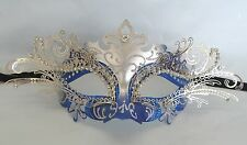 Blue & Silver Metal Masquerade Mask - Black Ribbon Tie On Express Post Option