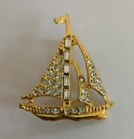 Vintage rhinstone sail boat brooch