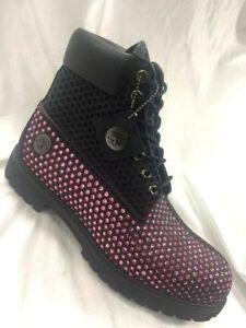 Men's Timberland Black | Pink Rhinestones Fashion Boot Size 12