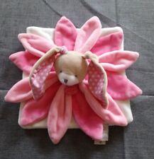 Doudou & Compagnie Collector Lapin pétales rose blanc étoiles + cadeau