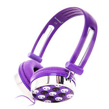 Purple Adjustable Skull Over-Ear Kids Childrens Girls Headphones iPod MP3 iPhone