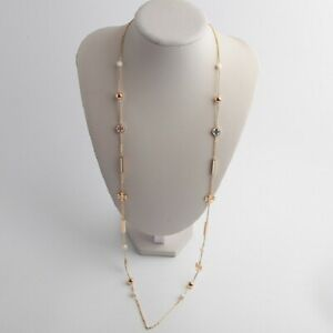 AUTH BNWT Tory Burch Ivory Kira Scattered Rosary Necklace