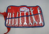 Vintage Proto Professional SAE Wrench Set 9pc Angled Open End No. 3300A, S-7883