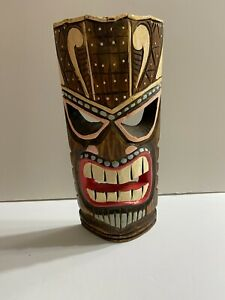"""Tiki Mask Tropical Island Wood Hawaiian Polynesian Wall Art 11 3/4"""" with Hanger"""