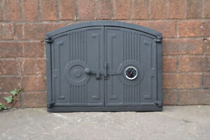 48 x 38 cm cast iron fire door clay / bread oven doors pizza with thermometer