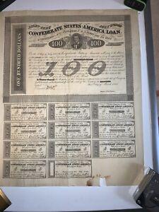 CSA Confederate $100 4% Interest Civil War Bond March 1863, 5 year maturity.