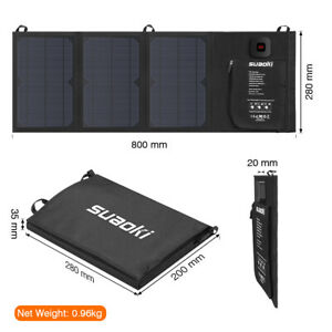 SUAOKI 21W Solar Panel Folding Battery Power Charger Mobile 2USB Camping Outdoor