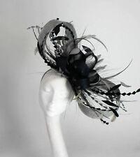 Black/Grey Fascinator Hat For Weddings/Ascot/Proms With Headband P2
