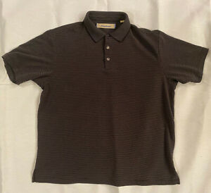 Tommy Bahama Grey & Black Strip Mens Button Up Polo Shirt