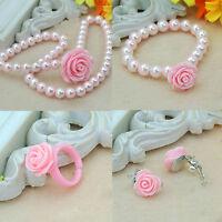 Kinder Perle Blume Form Halskette Armband Ring Ohrstecker Clip Schmuck Set