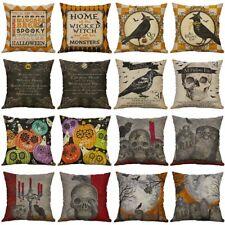 """Cover Pillow 18"""" Cotton Linen Skull Cushion Sofa Home Decor Case Halloween"""