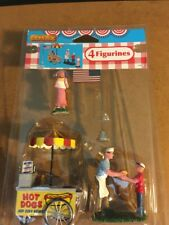 Lemax Summer Hot  Dog Stand W/Figures-FLAG -Set of 4 -Carnival- Train -Village-