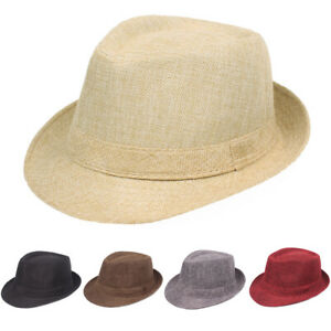 Men Women Solid Color Trilby Panama Jazz Caps Casual Outdoor Classic Fedora Hat