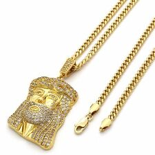 """Gold Plated Hip Hop Fully Iced Out Jesus Piece Pendant w/ 3mm 30"""" Cuban Chain"""