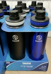 Takeya 24oz Originals Stainless Steel Bottle with Spout Lid 2pk - Black/Blue NEW