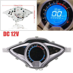 14000RPM Universal Motorcycle LCD Digital Speedometer Tachometer Odometer Gauge