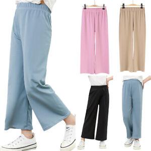 Kid Girls Plain Wide Leg Pants Elastic Waist Trousers Summer Loose Casual Bottom