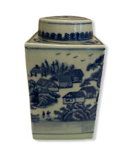 "Vintage Chinoiserie Blue Village Heavy Porcelain 7 x 3.5"" Ginger Jar with Lid"
