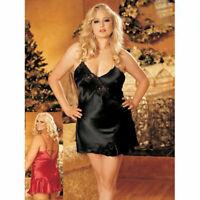 PLUS SIZE LINGERIE Size 2X Black Satin Chemise Lingerie Dress  SOHX30112