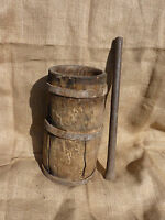 EARLY Antique Wooden MORTAR and Iron PESTLE WROUGHT Iron Bands on Mortar