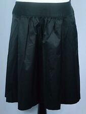 NWOT - Women's Lane Bryant Black Smooth Shiny A-Line Pleated Front Skirt - Sz 14