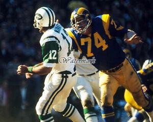 NFL Merlin Olsen Los Angeles Rams Joe Namath New York Jets Color 8 X 10 Photo