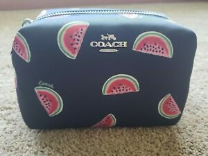 NWT Coach small boxy cosmetic makeup bag case watermelon print summer fruit