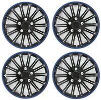 "Streetwize Car Wheel Trim Set 14"" Black Blue Ring Rims Set Of 4 Hub Caps Covers"
