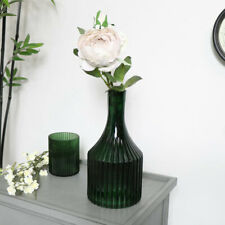 Green Glass Narrow Necked Ribbed Vase vintage art deco home decor ornament