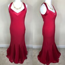 PLANET Size 12 Evening Gown Maxi Dress Red Pink Halterneck Mermaid Bias Cut
