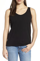 NWT Women's Eileen Fisher Black Sleeveless Organic Cotton Tank Top Sz L Large