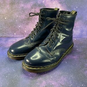 Doc Martens Navy/Dark Blue Patent Leather Combat Boots Size US10 DISTRESSED