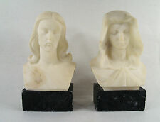 Antique Carved Stone Bust of Jesus Christ and St.Mary Sculpture