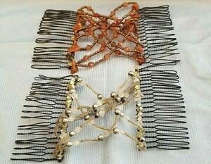 Pair of Scunci Beaded Double Combs Silver/Brown Updo Upsweep Prom