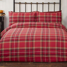 Cosy & Warm Duvet Set Red Check Brushed Cotton Campbell Choice of sizes