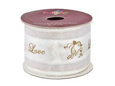 Tischband satin / Tüll weiß mit goldenem Druck : Glocken+ Love für die Hochzeit