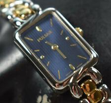 NEW! Pulsar Women's Two Tone Blue Rectangular Dial Watch (PEGA97) NEW BATTERY!