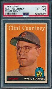 1958 Topps Set Break # 92 Clint Courtney White Name PSA 6 *OBGcards*