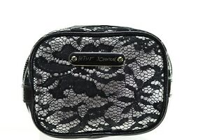 Betsey Johnson Royal Lace Silver Square Cosmetic Bag Case NWT