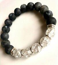 Ladrodrite,crystal quartz beads &Links Of London sterling silver rings Bracelet