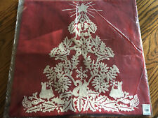 "Pottery Barn Christmas Tree Embroidered Pillow Cover Nwt 18"" -Retired - Sold Out"
