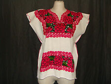Medium Folk White Cotton Pink Floral Embroidered Peasant Tunic Top